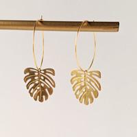 Monstera Leaf Hoops