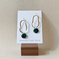 Wavelength organic shape drop earrings /  Green