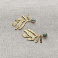 Organic Shape Textured Leaf Earrings
