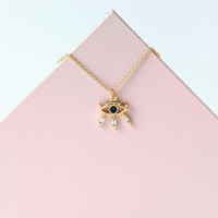 Wide Awake eye necklace / Blue