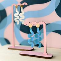 Wiggle Room squiggle earrings / Blue