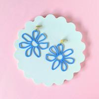 Flower Doodle Earrings / Blue