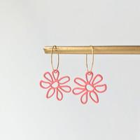 Flower mini doodle hoop earrings - pink