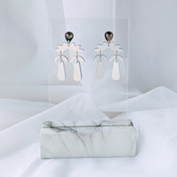 Curved Chandelier mirror acrylic statement earrings / Blue