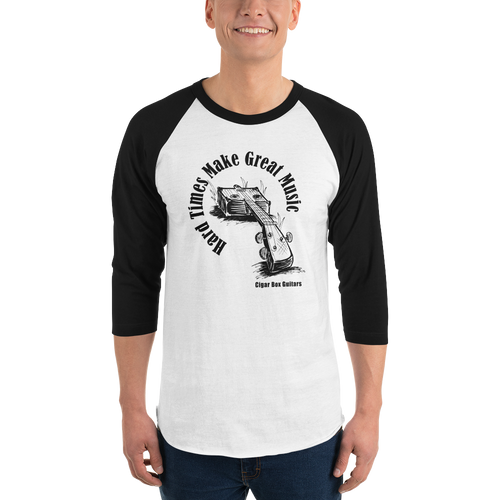 """Hard Times Make Great Music"" 3/4-Sleeve Jersey-style Shirt"
