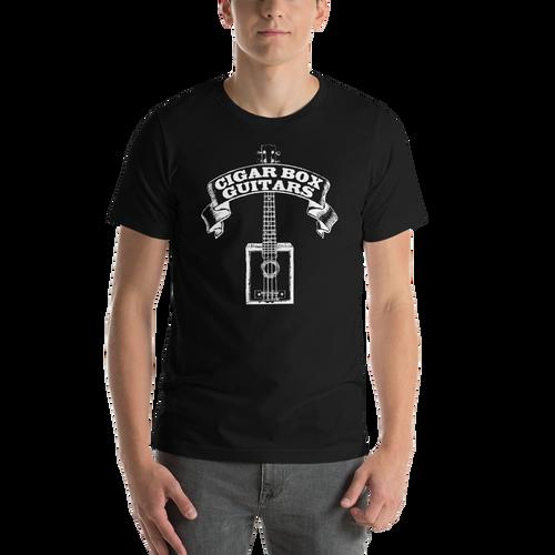 Cigar Box Guitars Premium Unisex T-Shirt (White Printing on Dark Fabric)