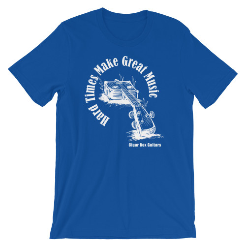 """""""Hard Times Make Great Music"""" Premium Unisex T-Shirt (White on Dark Fabric)"""