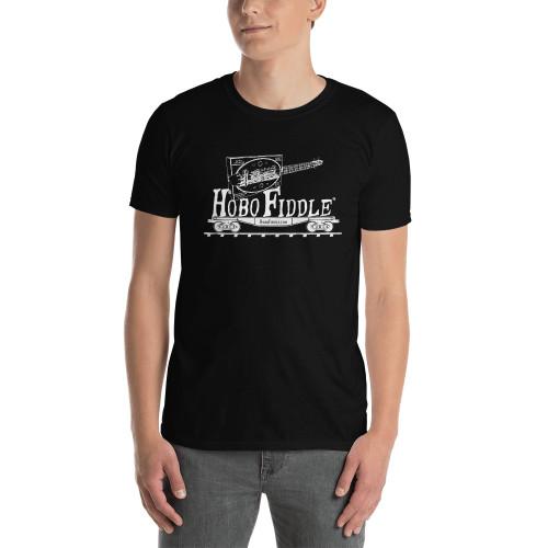 Hobo Fiddle Basic Unisex T-Shirt (White Print on Dark Fabric)