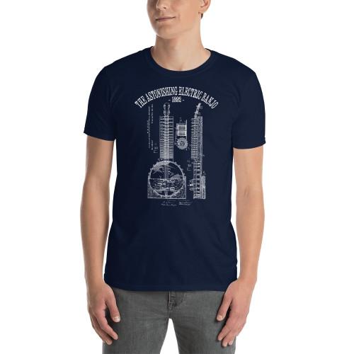 """""""The Astonishing Electric Banjo 1892"""" Basic Unisex T-Shirt (White Print on Dark Fabric)"""