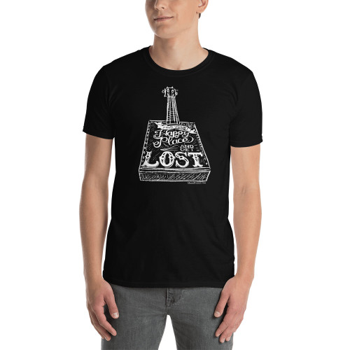"""""""Find Your Happy Place and Get Lost"""" Basic Unisex T-Shirt (White Print on Dark)"""