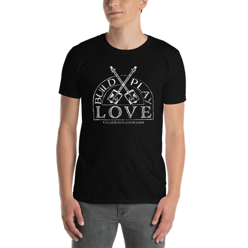 """Build Play Love"" Basic Unisex T-Shirt (White Print on Dark)"
