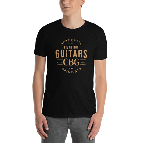 Authentic Originals Cigar Box Guitars Basic T-Shirt (Light Printing on Dark)