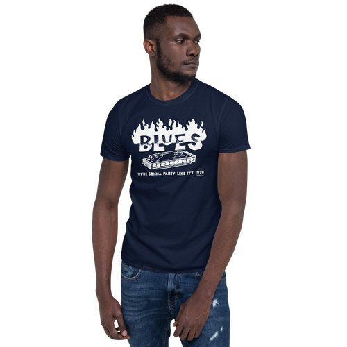 BLUES - Party like 1929 - Short-Sleeve Unisex T-Shirt (White Print on Dark Fabric)
