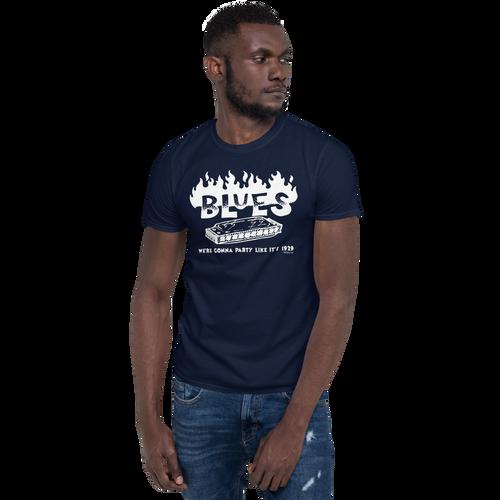 BLUES - Party like 1929 - Short-Sleeve Unisex T-Shirt (White Print on Dark Fabric)