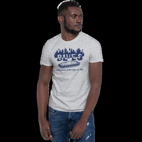 BLUES - Party like 1929 - Short-Sleeve Unisex T-Shirt (Blue Print on Light Fabric)