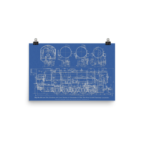 """Ten Wheeler"" ALCO 0-10-0 Steam Locomotive Railroad Blueprint-style Poster (BLUE)"