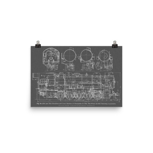 """Ten Wheeler"" ALCO 0-10-0 Steam Locomotive Railroad Blueprint-style Poster (GRAY)"