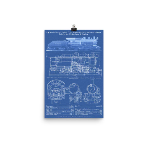 0-6-0 Switcher Philadelphia & Reading Steam Locomotive Poster - BLUE