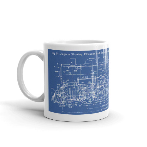 2-8-2 Mikado Steam Locomotive Blueprint Coffee Mug