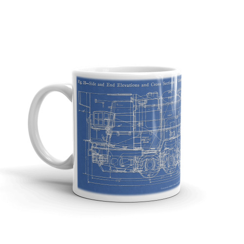 "0-10-0 ALCO ""Ten Wheeler"" Switcher Steam Locomotive Blueprint Coffee Mug"