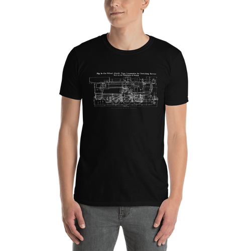 0-6-0 Switcher Philadelphia & Reading Steam Locomotive T-Shirt (White Printing on Dark Fabric)