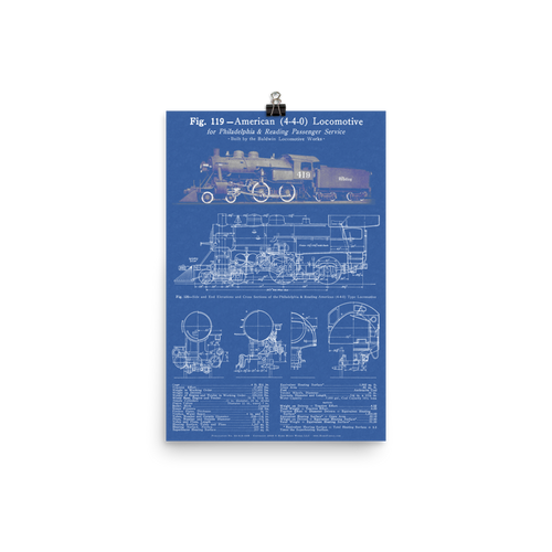 "Baldwin 4-4-0 ""American"" Steam Locomotive Blueprint-style Poster - BLUE"