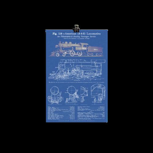 "Baldwin 4-4-0 ""American"" Steam Locomotive Blueprint-style Poster - BLUE"