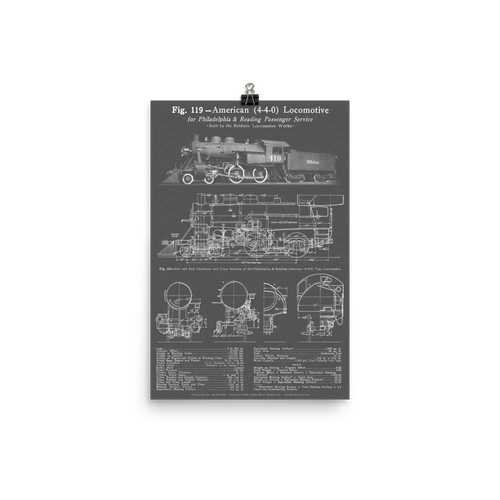 "Baldwin 4-4-0 ""American"" Steam Locomotive Blueprint-style Poster - GRAY"