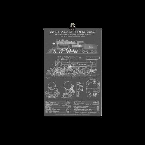 "Baldwin 4-4-0 ""American"" Steam Locomotive Blueprint-style Poster - GRAY"