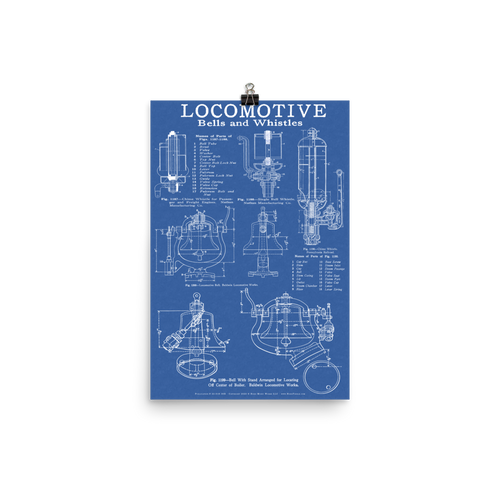 Locomotive Bells & Whistles Blueprint-style Railroad & Train Poster for Railfans - BLUE