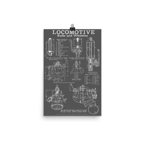 Locomotive Bells & Whistles Blueprint-style Railroad & Train Poster for Railfans - GRAY
