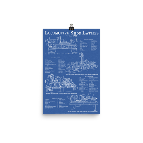 Locomotive Shop Lathes Blueprint-style Poster for Railfans and Tool-lovers - BLUE