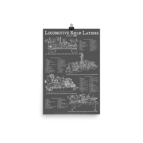 Locomotive Shop Lathes Blueprint-style Poster for Railfans and Tool-lovers - GRAY