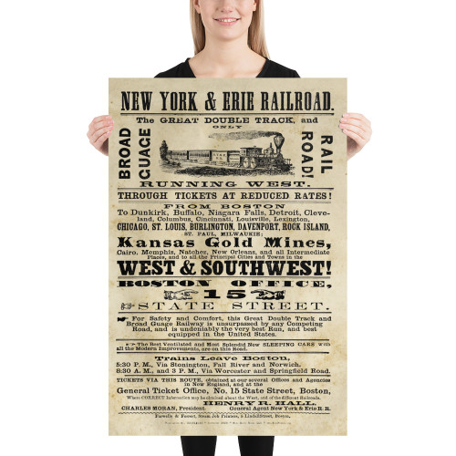 1868 New York & Erie Railroad Broadside Poster - Distinctive Railroad Decor
