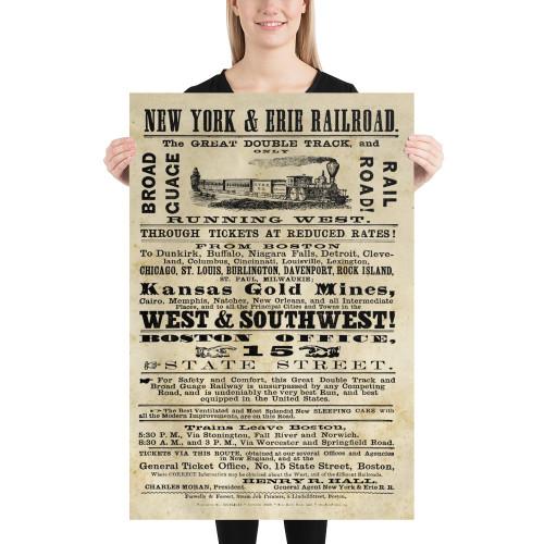 1868 New York & Erie Railroad Broadside Poster - Distinctive Railroad Decor