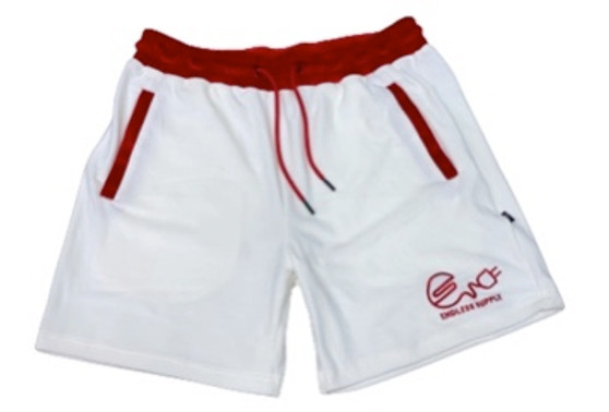 Endless Supply Velour Shorts White/Red