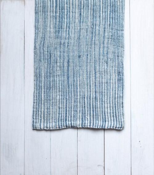 Indigo & Natural Cotton Stripe Hand Towel