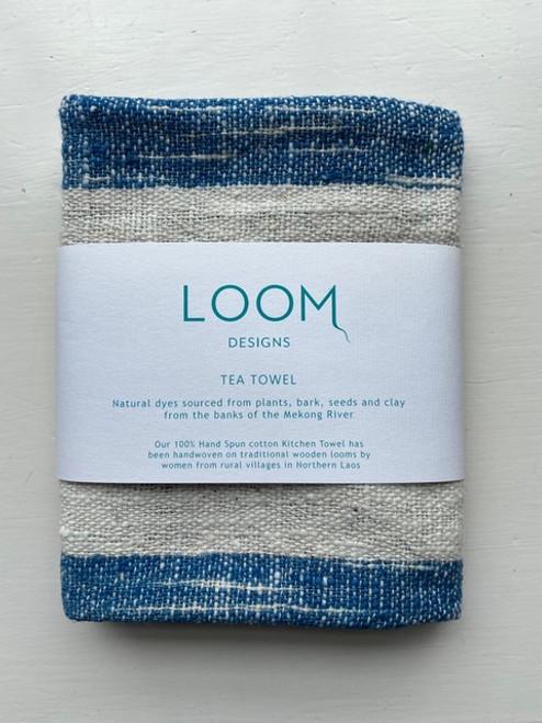 Indigo & Natural Cotton Ikat Stripe Tea Towel