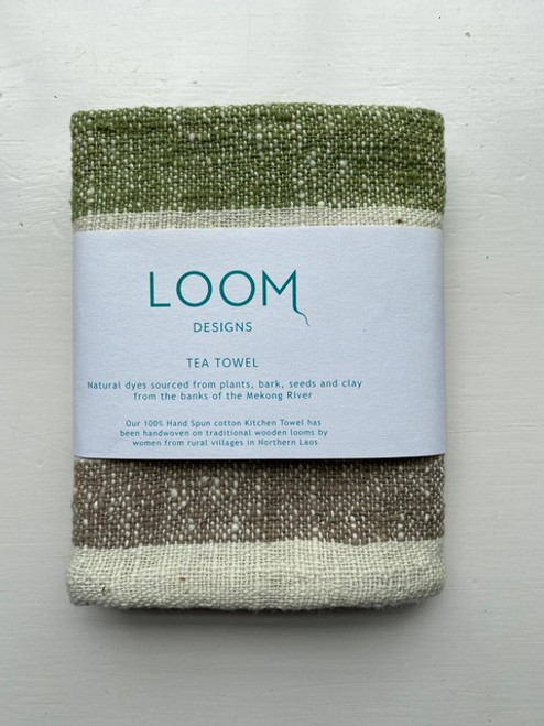 Green, Mekong Clay & Natural Cotton Stripe Tea Towel