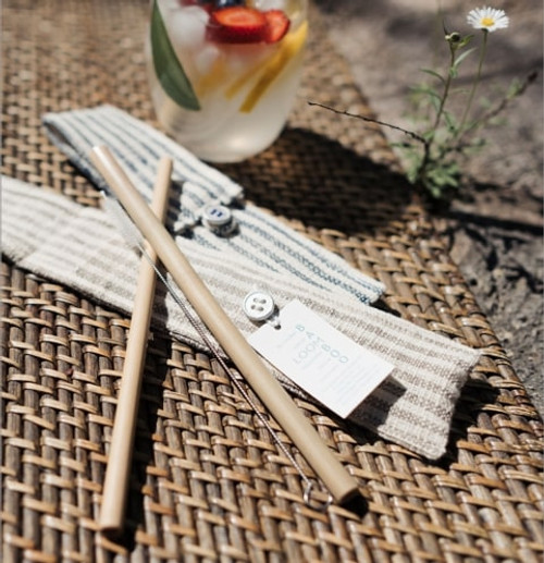 Pack: 2 Straws With Cleaning Brush, In Striped Pouch