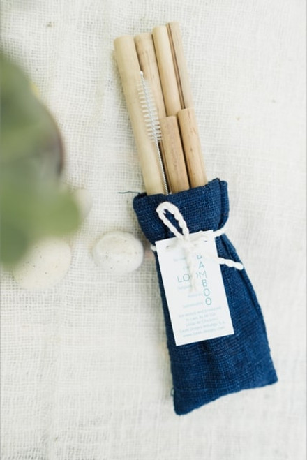 Pack: 6 Straws With Cleaning Brush, In Indigo Pouch