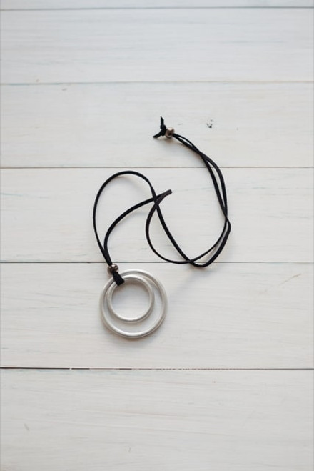 Black Suede Double Ring Necklace
