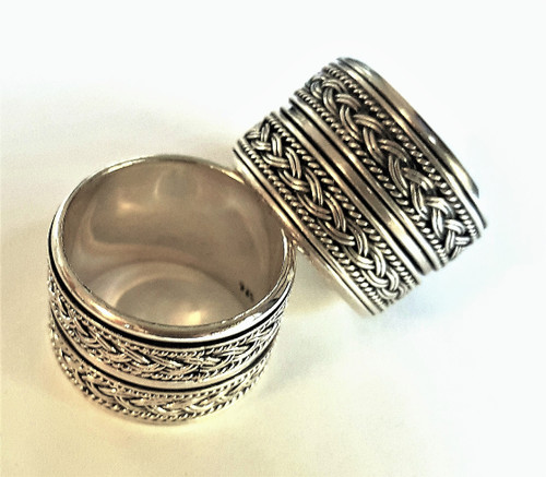 Hand Made Double Spin Ring in Sterling Silver