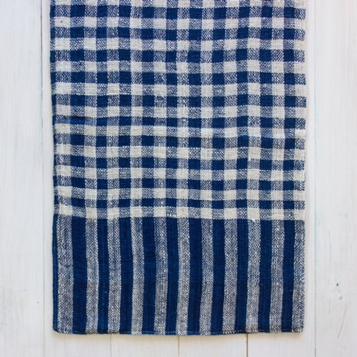 Indigo & Natural Cotton Check Hand Towel