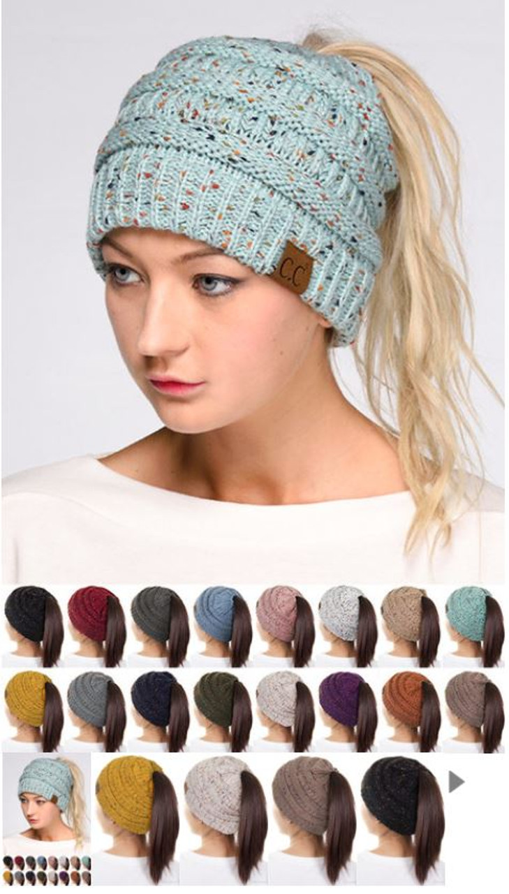 5dda978b30c CC Women s Confetti Messy Bun Beanie - Early Bird Boutique