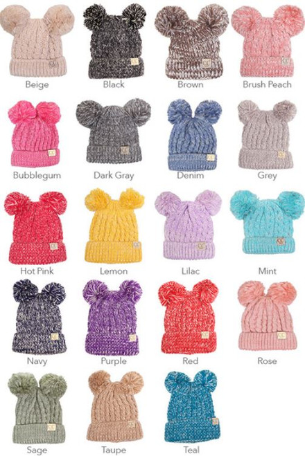 Kids  Two-tone Double Pom CC Beanie - Early Bird Boutique a9408a9e75e