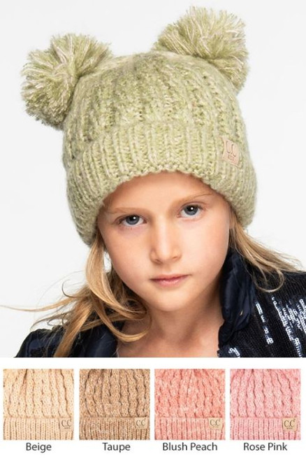 572683610c4 Kids  Two-tone Double Pom CC Beanie - Early Bird Boutique