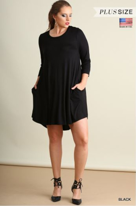 a8e52462c03 Umgee Black Scoop Neck Plus Dress - Early Bird Boutique