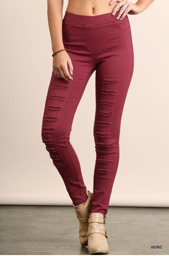 a42d98038db707 Umgee Wine Distressed Jeggings - Early Bird Boutique