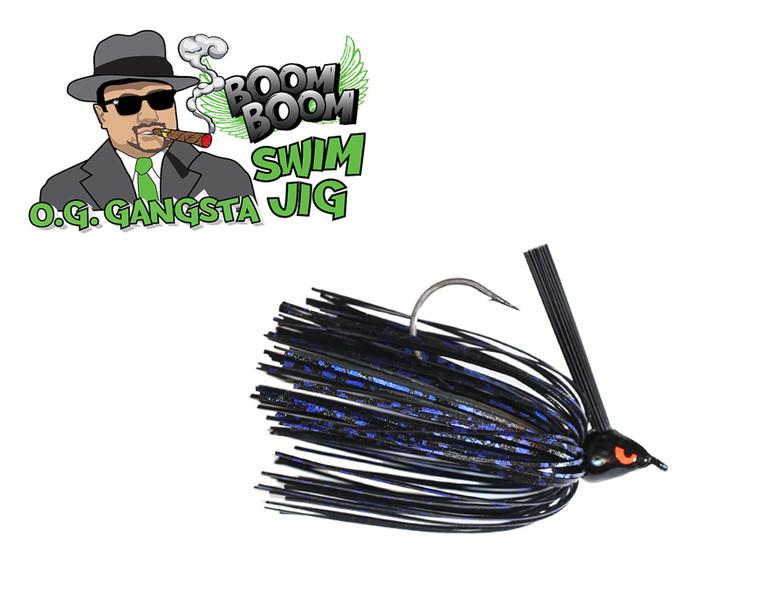 O.G. GANGSTA SWIM JIG - BLACK BLUE SHIMMA  3/8 OZ.